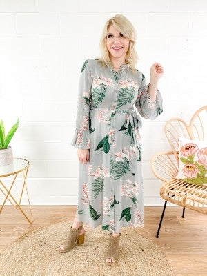 Botanical Floral Print Maxi Shirt Dress
