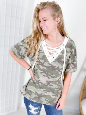 Camo V-Neck Lace Up Top