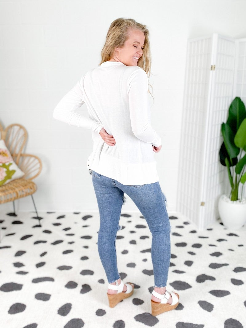 Door Buster! PLUS/REG Snap Button Long Sleeve Cardigan (Multiple Colors)