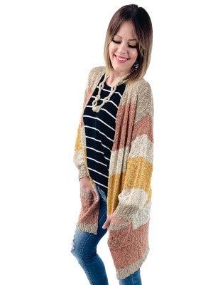 Ribbon Yarn  Striped Cardigan with Pockets