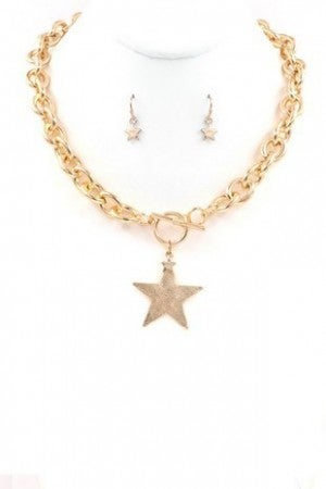 Star Pendant Necklace Set (Gold or Silver)
