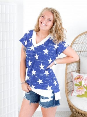 PLUS/REG Honeyme Waffle Knit Star Top (Multiple Colors)