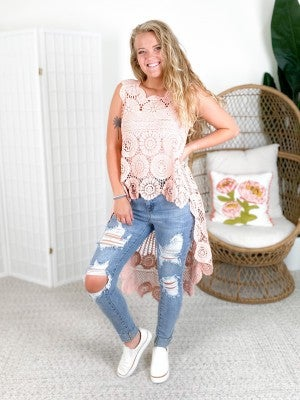 RESTOCKED! Boho Crocheted Hi-Low Sleeveless Tunic Top (Multiple Colors)