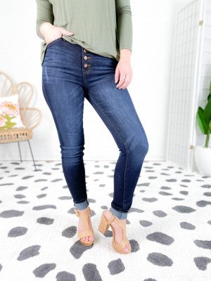 KanCan You're a Babe Button Fly Non-Distressed Jeans
