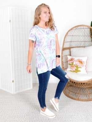 PLUS/REG Honeyme Lavender & Sage Swirl Tie Dye Top