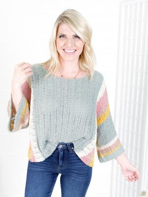 Wide Sleeve Colorblock Striped Sweater (Multiple Colors)