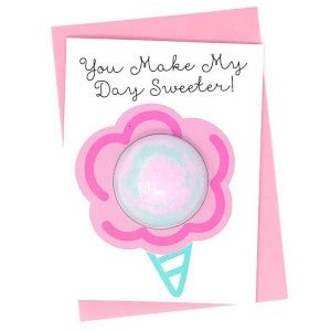 """You Make My Day Sweeter"" Bath Fizzing Greeing Card"