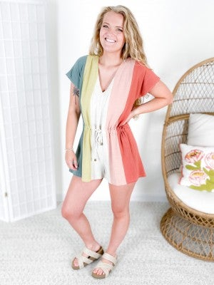 PLUS/REG Vertical Colorblock Stripe Romper
