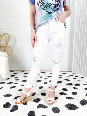 PLUS/REG Judy Blue White Tiger Distressed Skinny Jeans