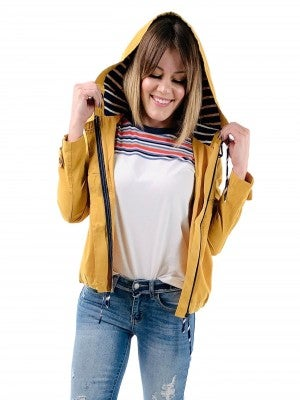 Zip Up Hooded Jacket with Navy and White Stripe Hood
