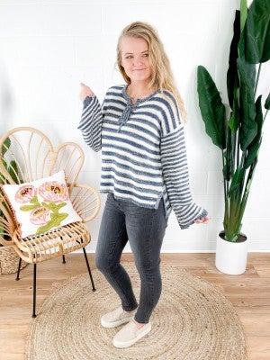 Nautical Stripe Sweater with Lace Up Neckline