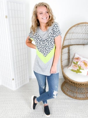 PLUS/REG Honeyme Grey Leopard & Neon Lime Chevron Top