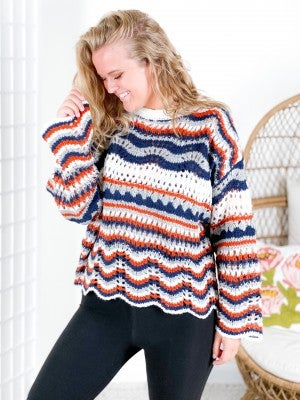 Striped Crochet Knit Sweater with Scallop Hem (Multiple Colors)