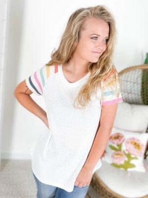 PLUS/REG Honeyme Pastel Striped Sleeve Top