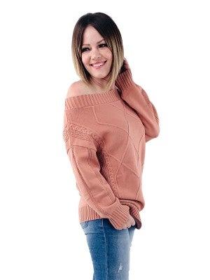 Off Shoulder Windowpane Sweater (Multiple Colors)