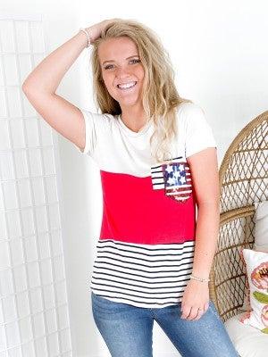 Patriotic Color Block Top with Sequin & Stripe Double Pocket Detail (Multiple Colors)