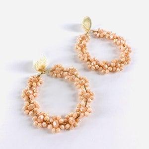 Blush, Lilac, Orange or White Flower Accent Hoop Earrings