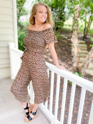 PLUS/REG Off Shoulder Leopard Print Jumpsuit