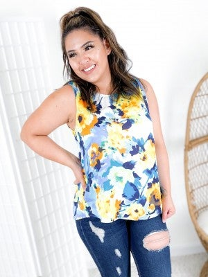 Blue & Yellow Floral Sleeveless Top