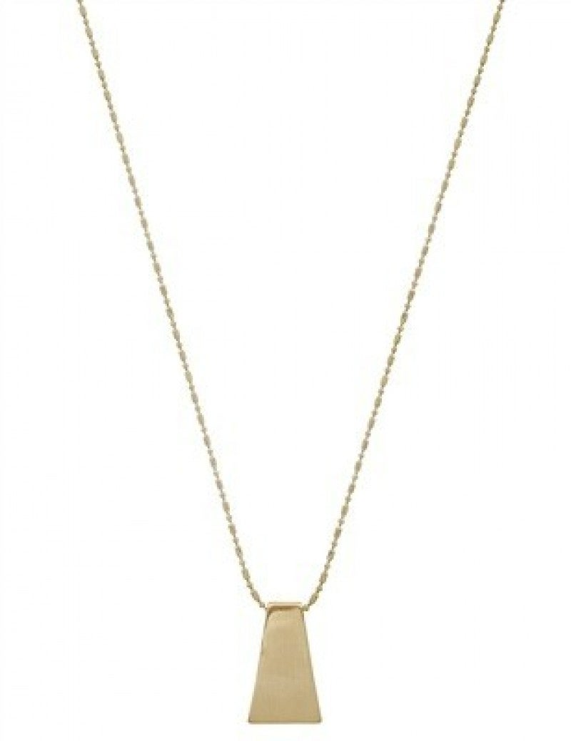Gold or Silver Geometric Rectangle Necklace With Stud Earrings