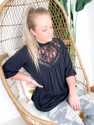GORGEOUS Lace Chest Inset Top with Keyhole Back