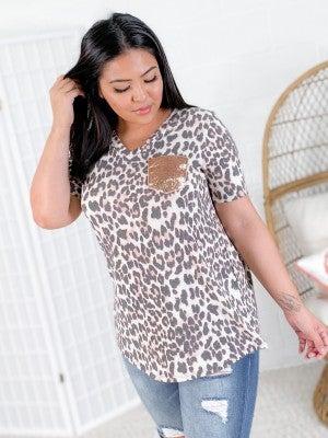PLUS/REG Leopard V Neck Top with Gold Sequin Pocket