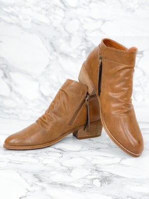 Camel Beast Bootie With Side Zippers