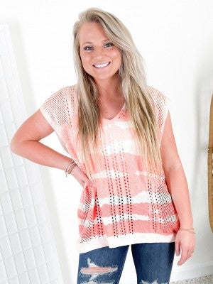 POL Hand Dip Dyed Striped Knit Top (Multiple Colors)