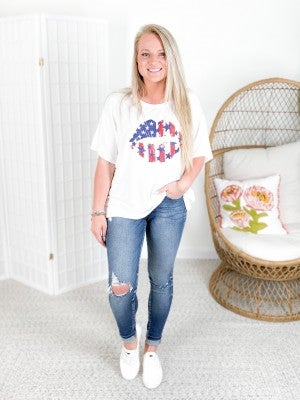 Vintage American Flag Lips Graphic Top