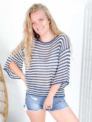 3/4 Sleeve Striped Summer Sweater (Multiple Colors)