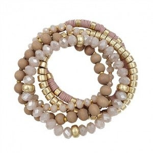 Crystals, Wood & Gold Beaded Stretch Bracelets - Set of 5 (Multiple Colors)
