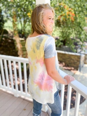 PLUS/REG Honeyme Grey Pink & Yellow Tie Dye French Terry Top