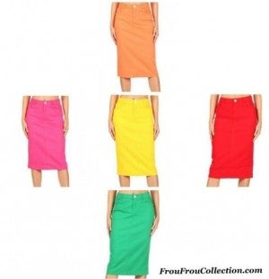 Be-Girl Twill Denim Midi Skirts ~ More Colors *Final Sale* NOT BEING RESTOCKED!