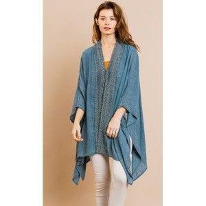 Seafoam Crochet Front Kimono