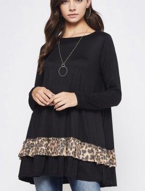 Black Swing Tunic W/ Leopard Ruffle