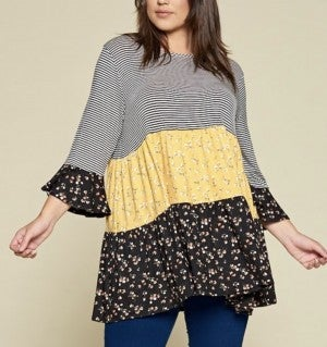Striped/Mustard Floral Baby Doll Top