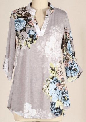 Grey Floral Top *Final Sale*