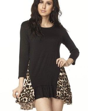 Leopard Print Side Contrast Tunic
