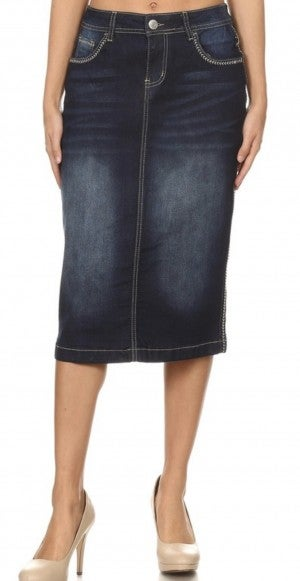 Be-Girl Midi Denim Skirt - #410