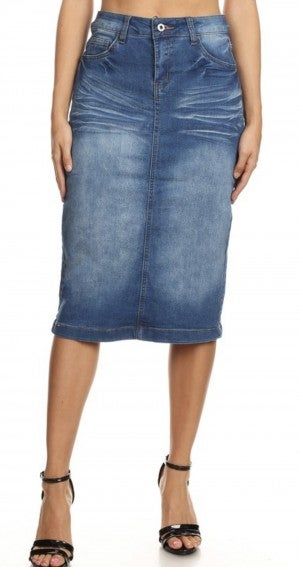 Be-Girl Midi Skirt - Indigo Denim #239