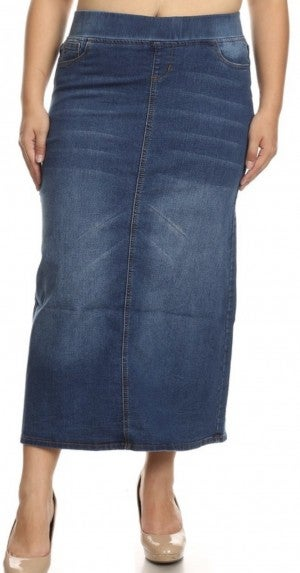 Be-Girl Long Denim Skirt ~Vintage or Indigo Wash