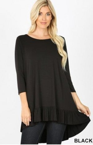 Ruffled Hem Hi/Lo Tunic *Final Sale*~NOT BEING RESTOCKED