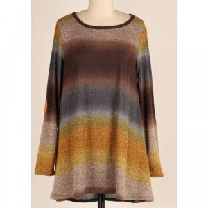 Ombre Tunic w/ Elbow Patch *Final Sale*