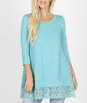 Lace Trim Solid Tunic