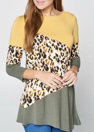Leopard Color Block Top