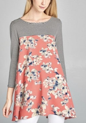 Coral Floral/Striped Tunic Top