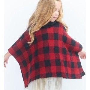 Girls Red/Black Buffalo Plaid Poncho *Final Sale*