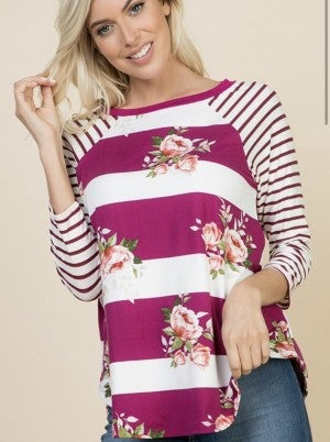 Striped/Floral Baseball T