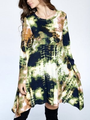 Fish Scale Tie Dye Tunic~ Green or Burgundy