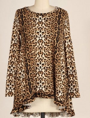 Leopard Ruffle Hi/Lo Tunic